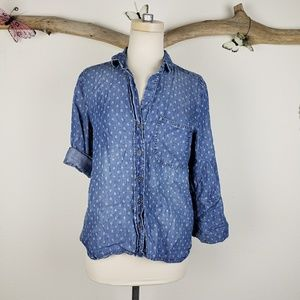 Cloth and stone patterned denim button up